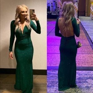 Emerald green glitter long sleeve open back dress